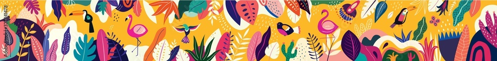 Animals big collection. Animals of Brazil. Vector colorful set of illustrations with tropical flowers, leaves, monkey, flamingo, and birds. Brazil tropical pattern. Rio de janeiro pattern <span>plik: #327841478   autor: moleskostudio</span>