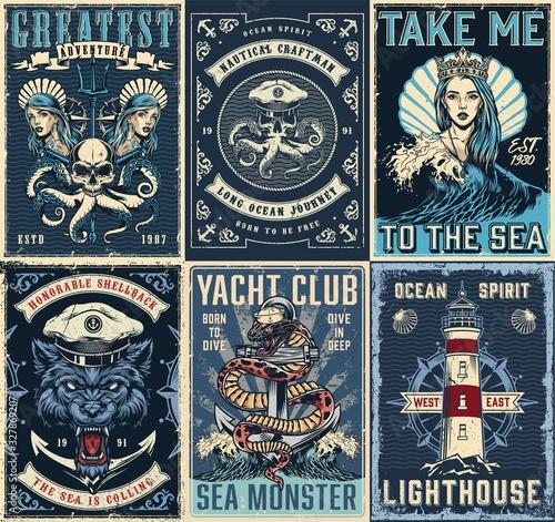 Wallpaper Mural Vintage marine posters set