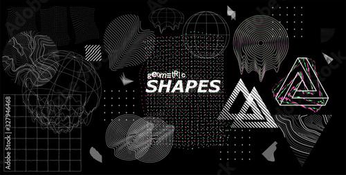 Fototapeta Modern universal trendy shapes, with glitch effects
