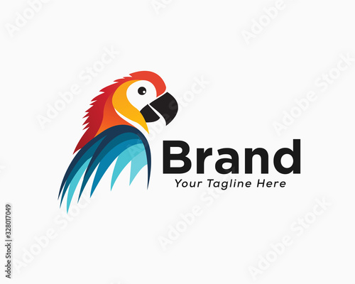 Fototapeta Elegant colorful parrot half body view logo design inspiration