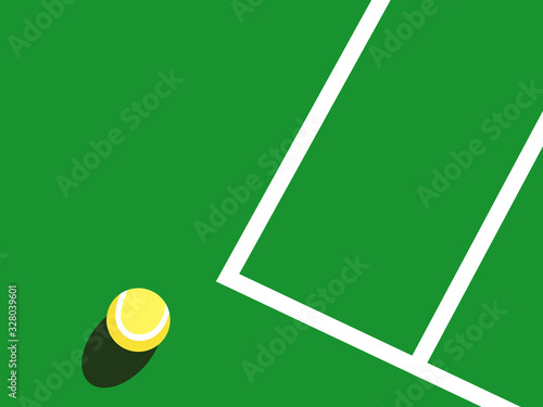 Photo Graphic realistic vector illustration of one yellow tennis ball laying on green court with white baseline fragment in bright sunlight