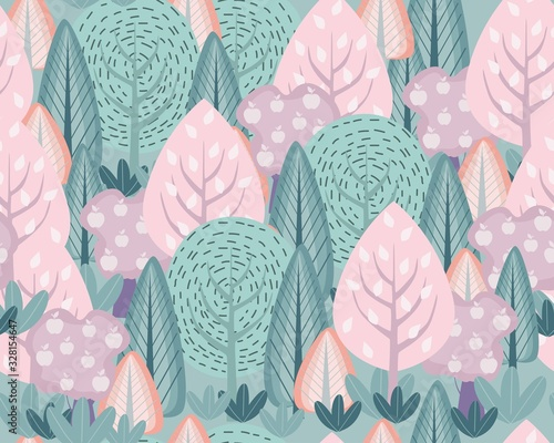 Hand drawn abstract scandinavian graphic illustration seamless pattern with trees and bush.  Nordic nature landscape concept. Perfect for kids fabric, textile, nursery wallpaper.