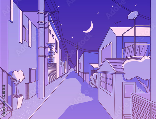 Fényképezés Night asian street in residental area