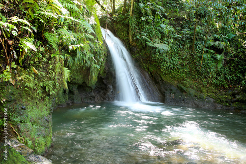 Canvas Print Crayfish Waterfall or La Cascade aux Ecrevisses, Guadeloupe National Park, Guadeloupe, French West Indies