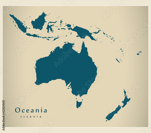Canvas Print Modern Map - Oceania map complete vector illustration