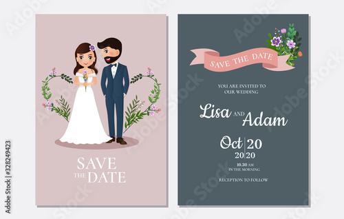 Canvas Print Wedding invitation card the bride and groom cute couple cartoon character