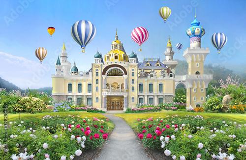 Obraz na plátně 3d mural wallpaper  palace with garden and flowers landscape