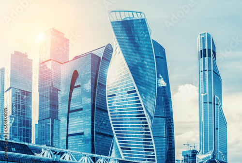 Urban landscape with skyscrapers at downtown in Moscow city