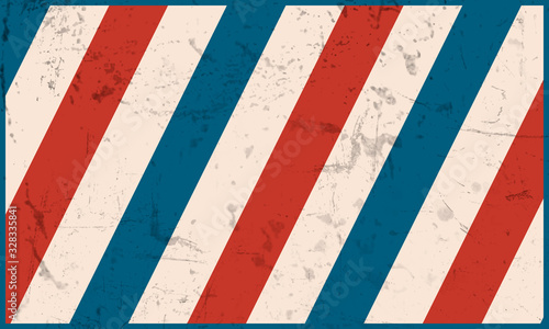 Background barbershop with diagonal colored stripes. Vector template in vintage style.
