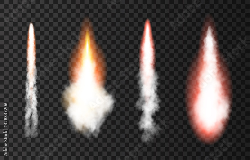 Canvas Print Flame and smoke from space rocket launch.