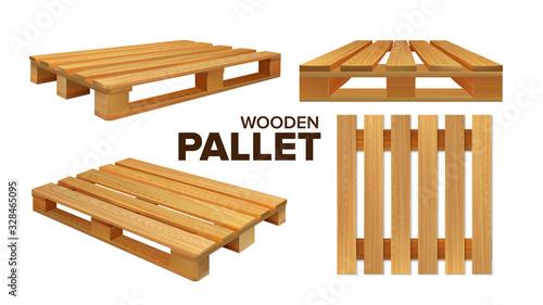 Fotografia Wooden Pallet Different Size Collection Set Vector