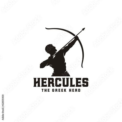 Canvas Print Hercules Heracles with Bow Longbow Arrow, Muscular Myth Greek Archer Warrior Sil