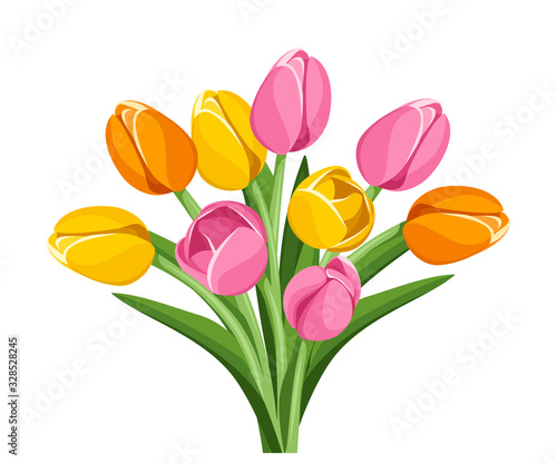 Photo Vector bouquet of pink, orange and yellow tulip flowers isolated on a white background