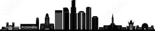 Fotografie, Obraz Los Angeles Skyline Silhouette Cityscape Vector