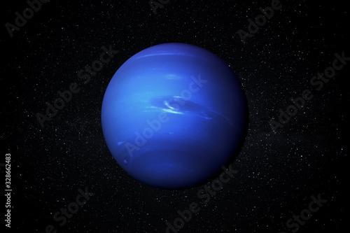 Obraz na płótnie Planet Neptune in the Starry Sky of Solar System in Space