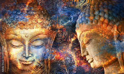 Leinwand Poster Head Smiling Buddha