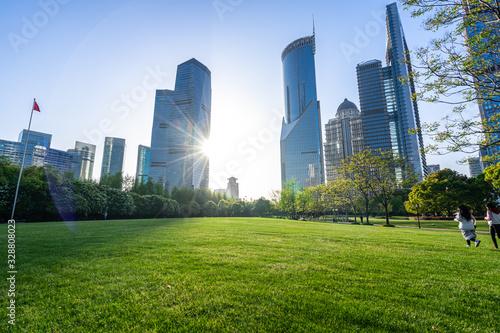 city skyline with park