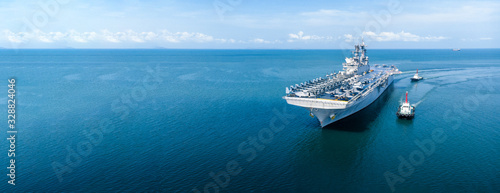 Photo Nuclear ship, Military navy ship carrier full loading fighter jet aircraft and helicopter patrol