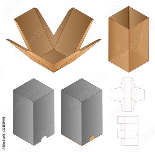 Stampa su Tela Box packaging die cut template design. 3d mock-up