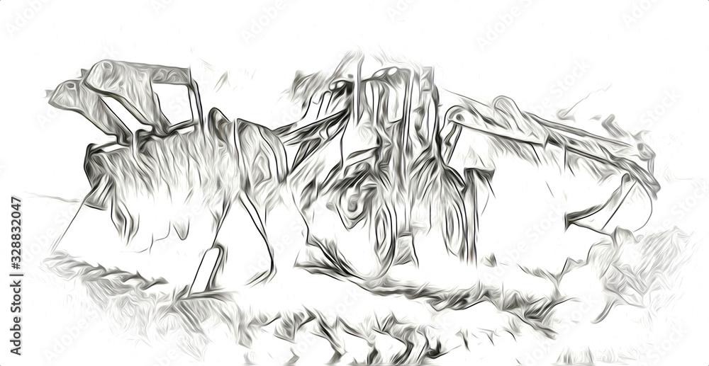 Excavator illustration color isolated art work <span>plik: #328832047   autor: maxtor777</span>