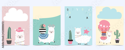 Pink green baby shower invitation with llama. Vector birthday invitation for kid and baby.Editable element