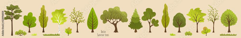 Summer trees, bush, grass. Set of green plants. Elements for vector flat design. Landscape. Nature <span>plik: #328916858 | autor: alena.art.design</span>