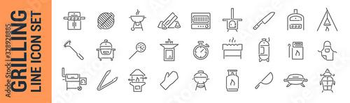 Fotografija Grilling vector isolated line icon set. BBQ barbecue grill