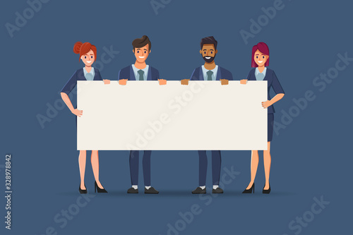Fotografia Group of business people teamwork holding big banner blank space character