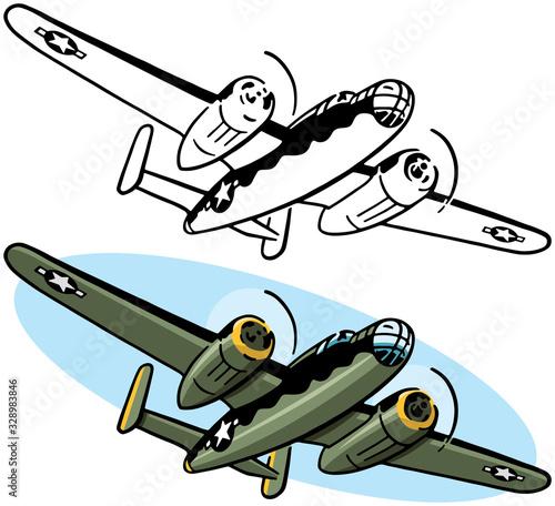 Vászonkép A drawing of an American World War II era bomber aircraft.