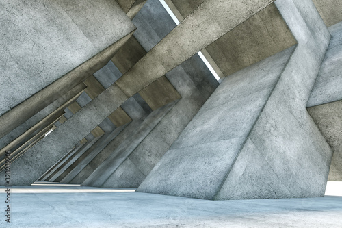 Fotografia, Obraz 3D rendering Abstract concrete interior with geometric shapes, modern architecture background