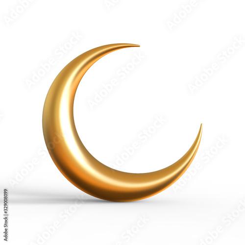 3d Rendering of gold crescent moon isolated on white background, Ramadan kareem Tapéta, Fotótapéta