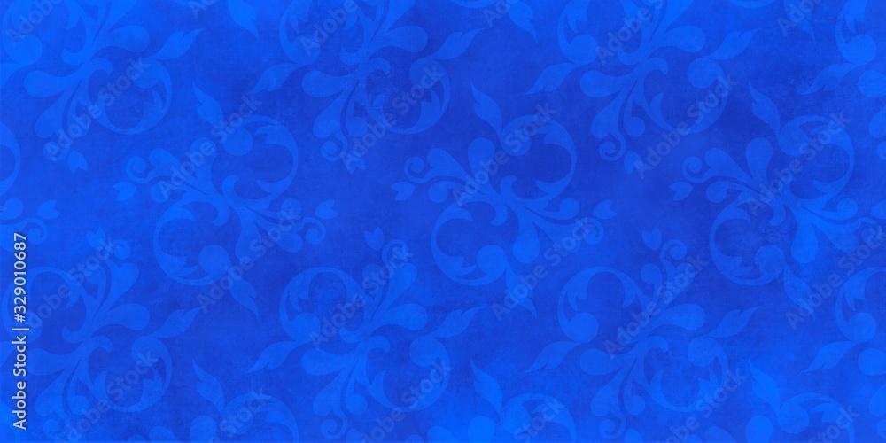 Jugendstil viktorianisch floral Ornament auf Hintergrund blau Textil Wand antik altes Papier Vorlage Layout Design Template Geschenk zeitlos schön alt barock edel rokoko elegant background <span>plik: #329010687 | autor: www.barfuss-junge.de</span>