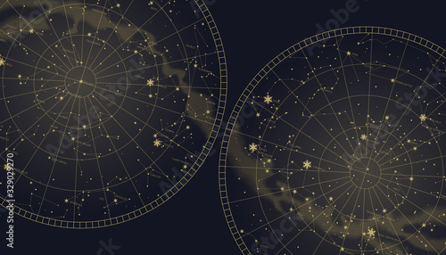 Photo Poster witn star constellations southern and northern map