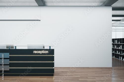 Canvas Print Cozy office corridor with reception table