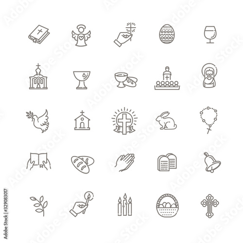 Christianity icon set Poster Mural XXL