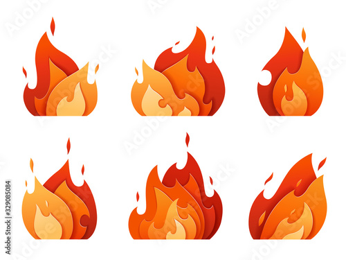 Fototapeta Set of fire logos carved out of paper