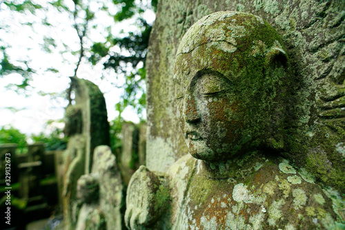 Buddhist statues Covered with dried green lemongrass and moss Fototapet