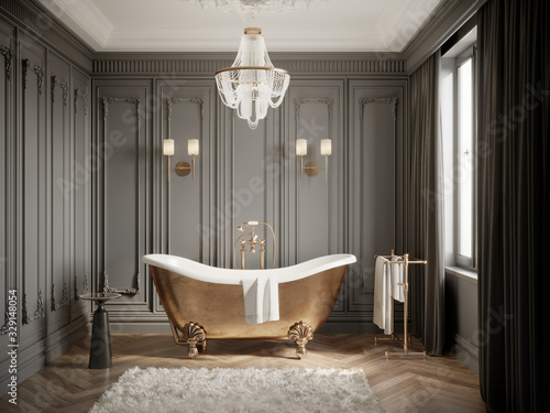 3d Classic luxury chic grey bathroom with moldings on the wall, a brass vintage barhtub and a chandelier
