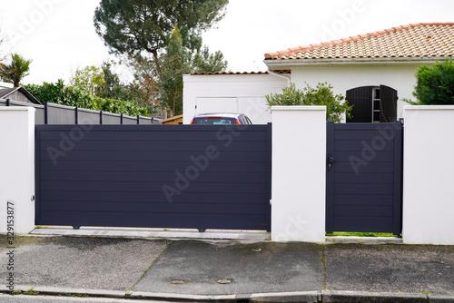 Aluminum metal gate of suburb house Fototapete