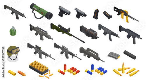 Leinwand Poster Isometric Army Weapons Collection