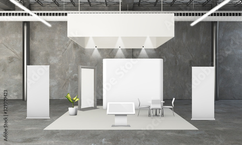 Fotografie, Obraz rounded exhibition booth 3d rendering