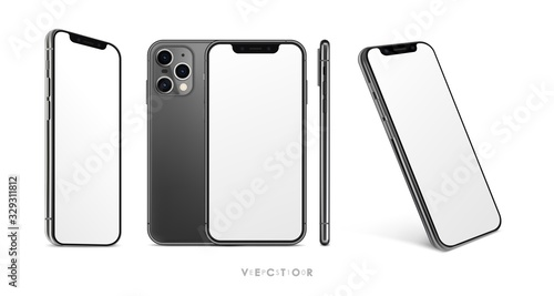 Wall mural New collection of realistic smartphones at different angles. High Detailed Vector mockups. Mobile phones isolated on white background. Device Mockup Separate Groups and Layers. Easily Editable EPS 10.