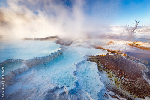 Fotografia, Obraz Mammoth Hot Springs with steamy terraces during winter snowy season in Yellowsto