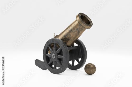Fotografia, Obraz 3d ramadan cannon gun isolated