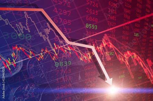 Bearish stock financial, bear market chart falling prices down turn from global economic and financial crisis Fototapeta
