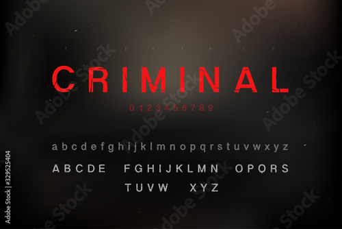 Scratched criminal theme alphabet font set with uppercase lowercase and numbers Fototapeta