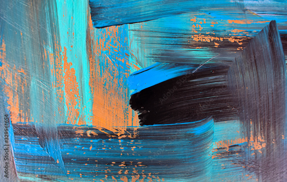 Abstract art, colorful oil paintings on canvas are beautiful, modern art Contemporary art. <span>plik: #329561654 | autor: aekkawin</span>