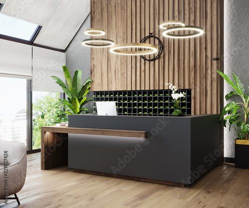 Photo Modern hall interior with reception desk in fitness center with wood panel and panoramic windows, wooden floor, fitness center front desk, 3d rendering