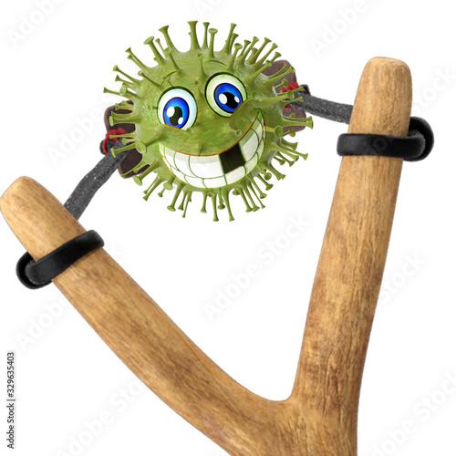 Valokuvatapetti Virus travels over a slingshot -3d-illustration