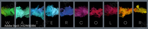 Big set of bright vector colorful watercolor on vertical black background for poster, brochure or flyer